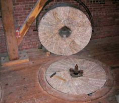 We no longer produce flour this way, by grinding wheat between two stones. Our roller mill stands are gentler and you'll never get stone chips in your teeth from a roller mill!