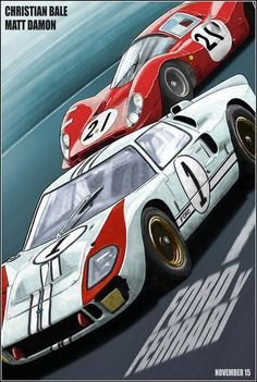 Ford V Ferrari / Le Mans 66 alternative movie poster print Ferrari, Maserati, Bugatti, Steve Mcqueen Le Mans, Mazda, Ford Gt40, Audi Tt, Porsche, Ac Cobra