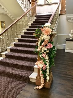 Stunning staircase at Ashfield House dressed in beautiful everlasting blossom, hydrangea, peonies, roses and ivy. Civil Ceremony, House Dress, Bridal Flowers, Hydrangea, Floral Wedding, Peonies, Ivy, Floral Design, Stylists