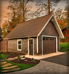 Idyllic lake house in Minnesota provides a welcoming respite - Exterior elevations Boat Garage, Garage Shed, Small Garage, Detached Garage, Garage Studio, Garage House, Garage Workshop, Dream Garage, Backyard Barn