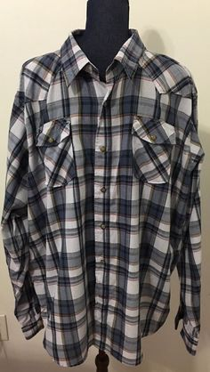Wrangler Mens Size 3XL plaid snap Western Button down shirt hipster Big & Tall #Wrangler #Western