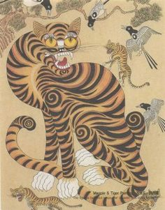 Magpie Tiger folk painting Korean culture japanese culture.. i remember this folktale