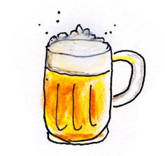 drawing of the classic beer mug with golden ale and foam head Bullet Journal, Best Beer, Ale, Organize, Good Things, Mugs, Drawings, Tableware, Classic
