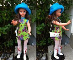robe sans manche tissu imprimé forme coeur pour poupée Cathie Bella / dolly gégé