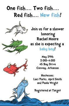 """Invites....One day hope to have a """"Little Fish"""" to carry on our Fish name!! Great idea for an invite!!"""