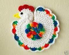 Crochet Chicken Rooster Potholder Pot Holder Hot Pad White Rainbow New | eBay