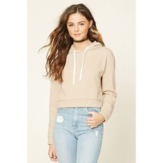 Forever21 Pullover Fleece Hoodie ($13) ❤ liked on Polyvore featuring tops, hoodies, beige, hooded sweatshirt, fleece lined hoodies, pink pullover, fleece pullover hoodie and pink hooded sweatshirt