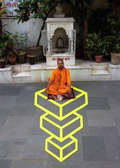 tape art aakash nihalani's, series in india 3d Street Art, Amazing Street Art, Street Art Graffiti, Amazing Art, Tape Art, Paper Tape, Art Optical, Optical Illusions, Illusions Mind
