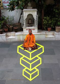 Math: Can be used to Learn Geometric shapes using painters tape. Geometric tape artist, Aakash Nihalani, invades India.