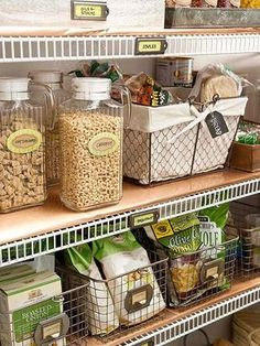 """Get that """"fixer upper"""" look in every room of your home -pantry and closets included! Repurpose those thrifting finds into easy storage containers to get yourself organized without ugly containers! These ideas utilize the vintage vibe for an organized storage area."""