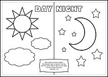 FREE printable Christian Bible colouring pages for kids: Genesis day and night // Kids Corner – The Faith Notebook Activity Sheets For Kids, Printable Activities For Kids, Bible Activities, Preschool Activities, Sunday School Kids, Sunday School Lessons, Sunday School Crafts, Lessons For Kids, Creation Coloring Pages
