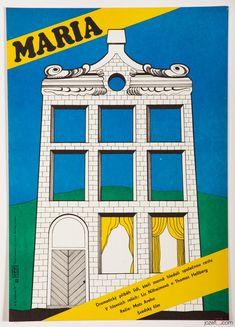 Movie poster for Swedish film Maria. Poster design: Olga Fischerová, Czechoslovakia, 1979. | #poster #film #illustration