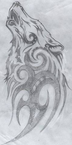 -Elaine Proffitt original,Tribal howling wolf drawing, © 2011 Cuestix International