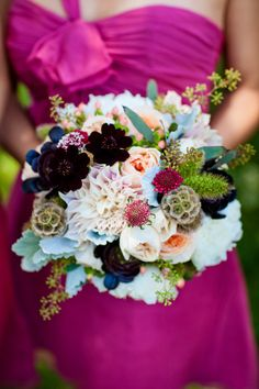 OMG, this bouquet is to die for!  Love the light colors tucked in with the dark and wood accents.  Beautiful!