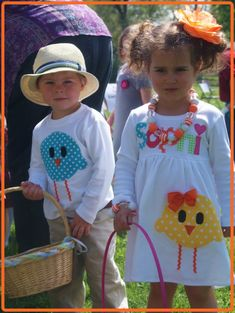 Matching Easter Outfits for Children, Brother Sister Easter Outfit, Personalized Easter Outfit For Girl and Boy Sewing For Kids, Baby Sewing, Diy For Kids, Easter Outfit For Girls, Easter Projects, Easter Ideas, Holiday Outfits, Holiday Clothes, Applique Designs