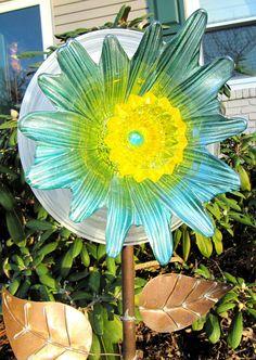 glass art-garden gift-glass plate flower-yard art-home
