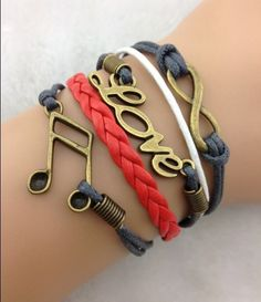 Leather Bracelet-Infinity, Musical Note & Love Charm