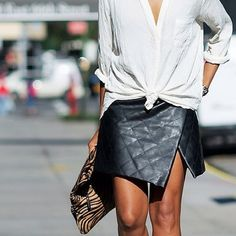 leather black split quilted skirt