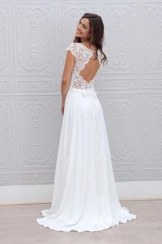d2adbdc9489d 2017 Beach Bohemian Wedding Dresses Illusion Neckline Capped Sleeves Empire  Backless White Lace And Chiffon Flowy Sexy Cheap Bridal Gowns Wedding  Dresses ...
