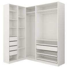 PAX Add-on corner unit with 4 shelves - white - IKEA Ikea Pax Corner Wardrobe, Corner Closet, Small Wardrobe, Ikea Design, Attic Renovation, Attic Remodel, Dressing Pax Ikea, Armoire D'angle, Pax System