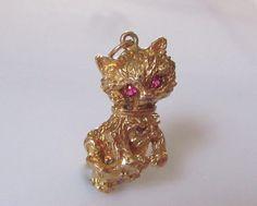 Large 9ct Cat with Pink Gem Set Eyes Charm by Britishgoldandsilver