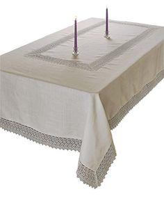 Violet Linen Treasure Macrame Lace Tablecloth, 52