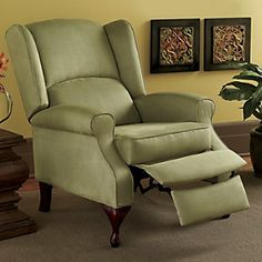 microfiber wingback recliner from through the country door