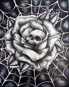 Roses are red the web is blue and this here skull is looking at you! Chicano Tattoos, Skull Tattoos, Rose Tattoos, Body Art Tattoos, Sleeve Tattoos, Et Tattoo, Tattoo Hals, Tattoo Drawings, Art Drawings