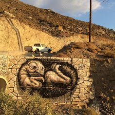 🐣A baby creature was born during my vacation on Ikaria isl. Greece😎 #wd_wilddrawing #wdstreetart #streetart #graffiti #mural