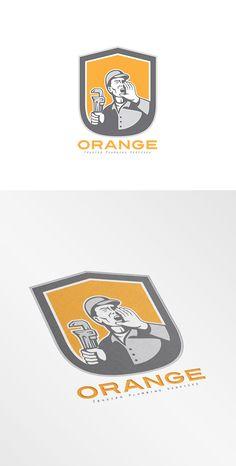 Orange Trusted Plumbing Services Log by patrimonio on Creative Market