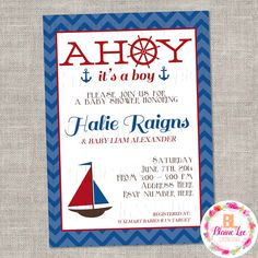 Nautical Sailor Baby Shower Invitation- Digital File by BlaineLeeCo on Etsy https://www.etsy.com/listing/456220854/nautical-sailor-baby-shower-invitation