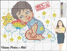 Viviane Pontos e Art's: Bebezinha e bebezinho no arco irís Cross Stitch Baby, Cross Stitch Charts, Chrochet, Betty Boop, Pixel Art, Kids Rugs, Embroidery, Fictional Characters, Baby Cross Stitch Patterns