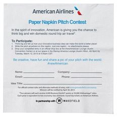 American Airlines' Paper Napkin Pitch Contest Calls For Innovative Ideas