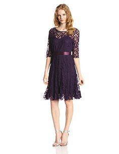 Jessica Howard Women's Petite 3/4 Sleeve Lace Ribbon Belted Dress, Plum, 6 Petite Jessica Howard http://www.amazon.com/dp/B00LXB5SWU/ref=cm_sw_r_pi_dp_ryiTub1W4G03C