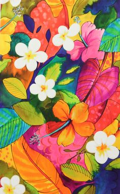 wallpaper, flowers, and background image Cute Wallpapers, Wallpaper Backgrounds, Iphone Wallpaper Tropical, Textures Patterns, Print Patterns, Art Tropical, Tropical Paintings, Tropical Prints, Tropical Colors