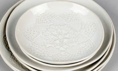Lace texture white platters. Oceanic collection by OJEA STUDIO. Hand built stoneware, made in Galicia, Spain