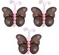 """3"""" brown & pink butterflies"""