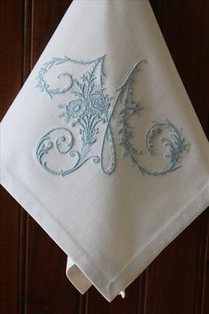 Monogram Table Linen Napkins Serviettes Vintage French Metis Linen All Initials