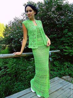 """Купить """"Дай мне нежность.."""" - ярко-зелёный, вязаный костюм, юбка в пол вязаная"""