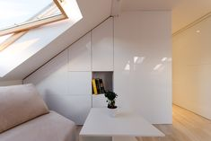 Situated in the loft of a historical building, the apartment contained a space which was difficult to partition and furnish. Zen, Stairs, Room, Inspiration, Furniture, Design, Home Decor, Minimalism, Bedroom
