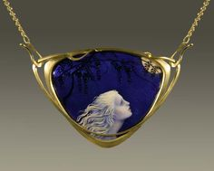 """Moonlight Wisteria"" | Larissa Podgoretz (Artist, Jeweler, Enamelist) http://larissaenamels.com/"