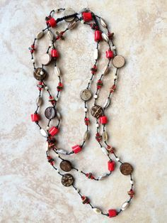 A personal favorite from my Etsy shop https://www.etsy.com/listing/259246127/boho-necklace-stone-necklace-red-knotted