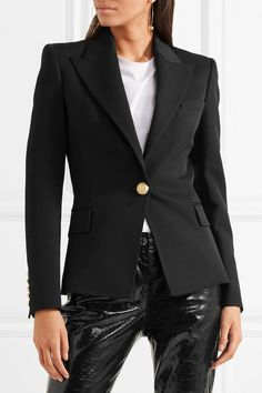 Black wool-twill Button fastening at front 100% wool; lining: 52% viscose, 48% cotton Dry clean Imported