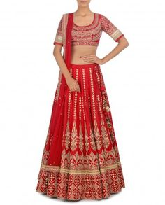 Indian Red Lengha Set with Embroidered Motifs