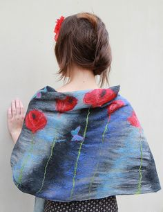 Nuno felted merino wool and hand-dyed cotton shawl scarf dark blue indigo with red poppies
