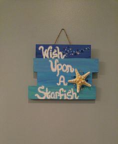 Wish Upon a Starfish Wooden Beach Sign, Beach decor, Beach House, Home decor Ocean Room, Beach Room, Beach Art, Beach Bedroom Decor, Bedroom Themes, Home Design Decor, House Design, Home Decor, Beach Signs Wooden