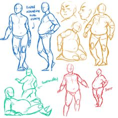 dinkydins: I was asked to draw a guide on drawing fatties, but I… had no clue how to, so I figured I'd doodle up some examples instead. [...]  A lot of my chubby characters are a bit on the stubby side as well, and I didn't entirely manage to break away from that default…  Honestly, though, as long as you don't forget to add some squish on the sides and make sure to have the body balanced out, they're pretty straightforward to draw, I think.