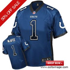 $89.99 Men's Nike Indianapolis Colts #1 Pat McAfee Limited Drift Fashion 30th Seasons Patch Blue Jersey