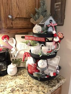 Easy DIY Indoor Christmas Decor and Display Ideas, Ways To Decorate Your Tiered Tray For Christmas, Kitchen Counters, or Fireplace Mantle Decorating, Christmas Decor Farmhouse Christmas Decor, Christmas Kitchen, Country Christmas, Christmas Home, Christmas Interiors, Christmas Coffee, Christmas Projects, White Christmas, Merry Christmas