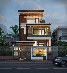 Ideas For Design House Front Modern Architecture House Front Design, Modern House Design, 3 Storey House Design, Villa Design, Chalet Modern, Front Elevation Designs, House Elevation, Facade House, House Facades